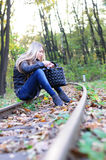 Woman on a railroad Royalty Free Stock Photography