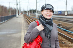 Woman on railroad station Royalty Free Stock Image