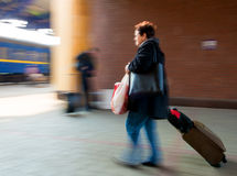 Woman on railway station Royalty Free Stock Photos