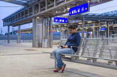 Woman in Railway Station Royalty Free Stock Photography