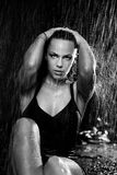 Woman in the rain. Portrait of the young woman in the rain Royalty Free Stock Images