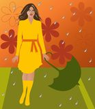Woman in Rain. An illustration of a woman in a yellow dress standing in the rain. She is holding an umbrella and the background is made up of flower motifs Vector Illustration