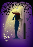 Woman-in-rain mirage Stock Images