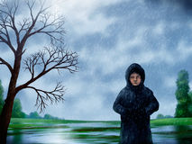 Woman In The Rain Painting. Digital painting of a woman walking through a park on a rainy day Stock Image