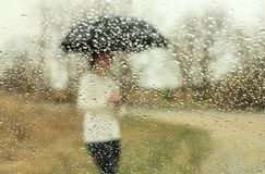 Woman with umbrella waiting in  rain Royalty Free Stock Images