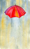 Woman and rain. Watercolor illustrations and paper texture Stock Photo
