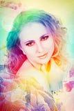Woman on rainbow background. Beautiful woman with curly hair on rainbow background with halftone pattern and bokeh Stock Image