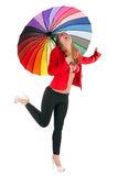 Woman with rainbow umbrella Stock Images