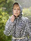 Woman and raincoat Stock Photo