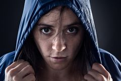 Woman with Raincoat Stock Photography