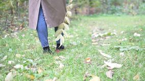 A woman in a raincoat is walking through the autumn forest. stock footage