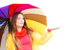 Woman in rainproof coat under umbrella Stock Image