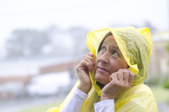 Woman in rainy weather season Royalty Free Stock Photography