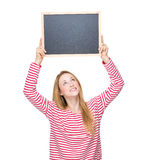 Woman raise up with chalkboard Royalty Free Stock Photo
