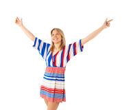 Woman with raised arms Royalty Free Stock Images