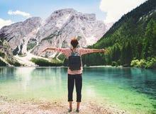 Travel on Braies Lake Lago Di Braies in Dolomites, Italy, Europe stock image