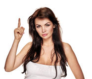 Woman with raised finger Royalty Free Stock Photo