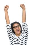 Woman raised hands Royalty Free Stock Image
