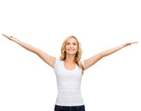 Woman with raised hands in blank white t-shirt Royalty Free Stock Photo