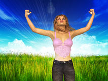 Woman with raised hands on grass field Royalty Free Stock Photos