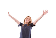 Woman with raised hands Stock Photos