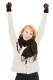 The woman raised her hands up Stock Photo