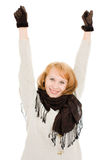 The woman raised her hands up Stock Images