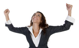 Woman with raising hands Royalty Free Stock Images