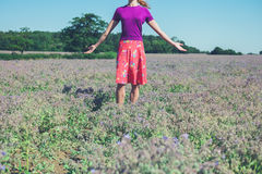 Woman raising her arms in a field of purple flowers. A young woman is raising her arms in a field of purple flowers Stock Image