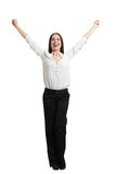 Woman raising her hands up Stock Photo