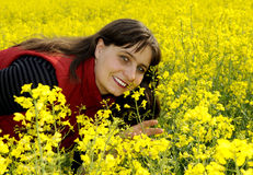 Woman in rapefield Royalty Free Stock Images