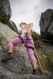 Woman in rappel Royalty Free Stock Images