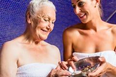 Woman at Rasul bath in spa Royalty Free Stock Photography