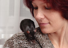 Woman and  rat Royalty Free Stock Photos