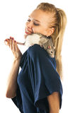 Woman with a rat on her shoulder Royalty Free Stock Photo