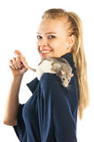 Woman with a rat on her shoulder Royalty Free Stock Images