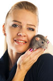 Woman with a rat on her shoulder Stock Photos