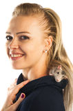 Woman with a rat on her shoulder Stock Photography