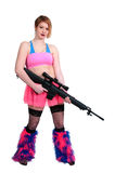 Woman Rave Rifle Girl Stock Photo