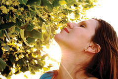 Woman in the rays of a sun Stock Photography