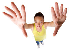 Woman reach out. Distorted photo of young woman reach out stock photo