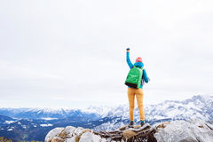 Woman reached summit Royalty Free Stock Image