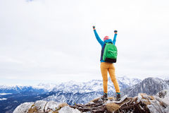 Woman reached summit Stock Images