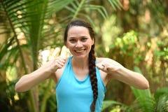 Woman reaching goal or achievement Royalty Free Stock Photos