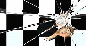Woman pushing and cracking glass ceiling. Woman reaching up to press up and break glass ceiling stock illustration