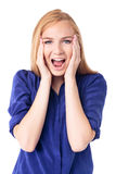 Woman reacting in amazement and shock Stock Image