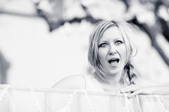 Woman reacting in shock and surprise Royalty Free Stock Photos