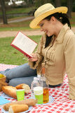 Woman Read Book And Enjoying Outdoor Picnic. Smiling young woman reading book in summer day picnic royalty free stock image