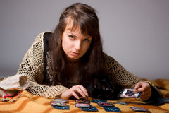 Woman read the cards Stock Images