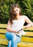 Woman read a magazine Stock Photo